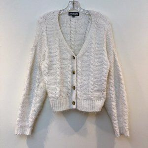🍁Sweet & Sinful White Knit Button Front Cardigan